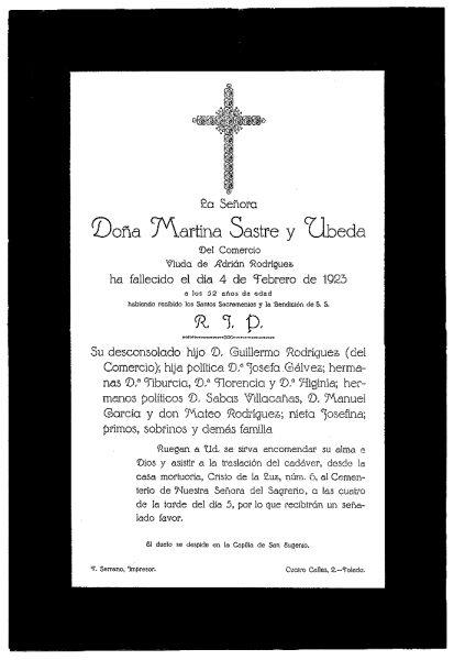 41 04-02-1923 Martina Sastre y Úbeda