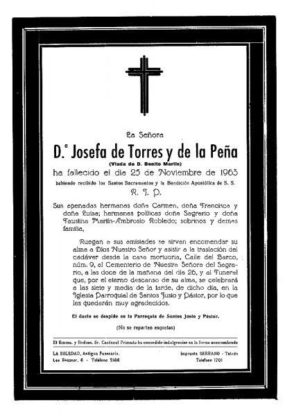 70 25-11-1963 Josefa de Torres y de la Peña