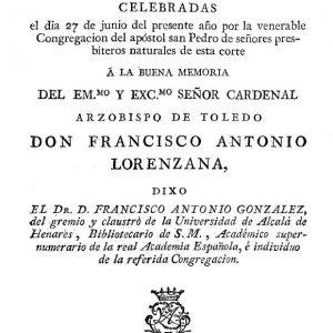 Año 1804.Oración fúnebre por Francisco Antonio de Lorenzana, arzobispo de Toledo