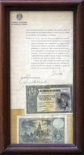 Billete de 500 pesetas ilustrado con un fragmento de El entierro del Señor de Orgaz y emitido en 1940