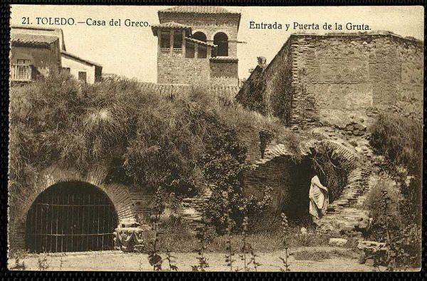 Entrada de acceso a la gruta de la Casa del Greco-Postal editada por Grafos hacia 1929_P-0640