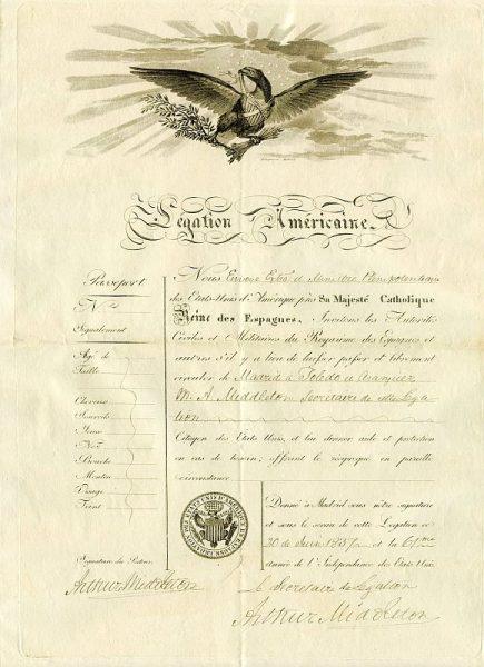 ESTADOS UNIDOS Pasaporte dado en Madrid por la embajada de Estados Unidos a un ciudadano americano Año 1837