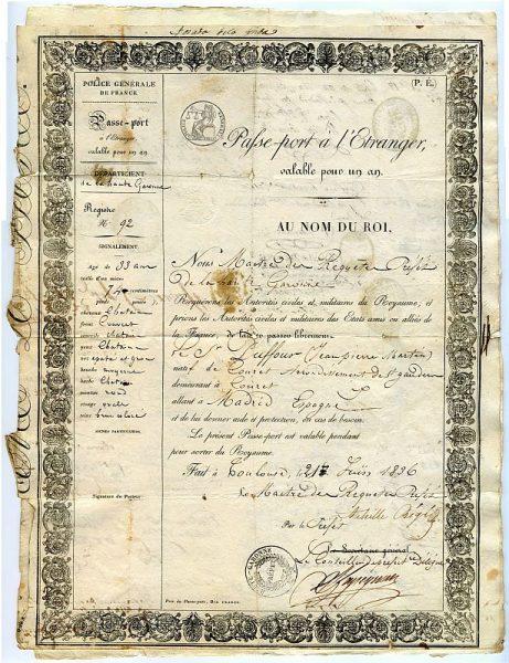 FRANCIA Pasaporte dado en Toulouse por el Prefecto de la Alta Garona a un ciudadano francés en 1836 Hoja 1 anverso