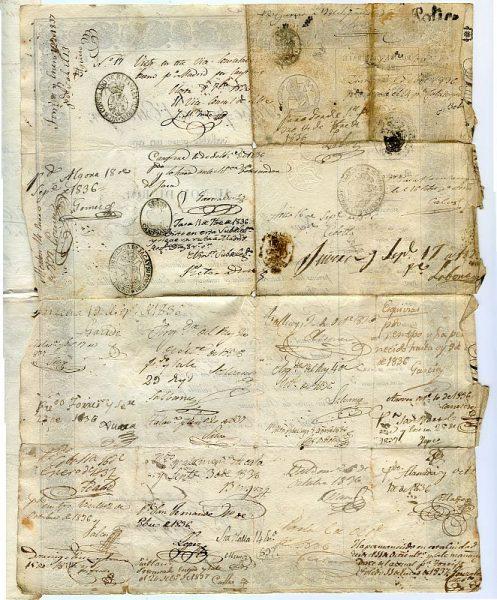 FRANCIA Pasaporte dado en Toulouse por el Prefecto de la Alta Garona a un ciudadano francés en 1836 Hoja 1 reverso