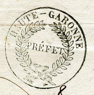 FRANCIA - Sello de la Prefectura del Alto Garona - Año 1836