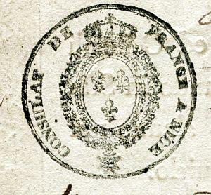 FRANCIA - Sello del Consulado de Francia en Niza - Año 1823