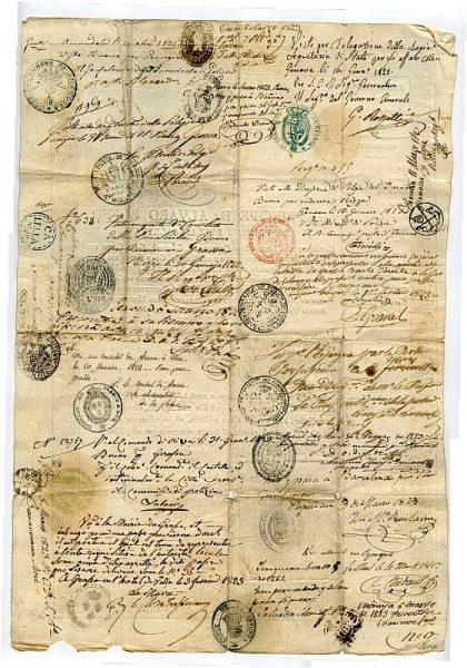 ITALIA Pasaporte dado en Nápoles por el Reino de las dos Sicilias a un ciudadano italiano Año 1822 Hoja 1 reverso