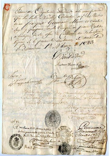 ITALIA Pasaporte dado en Nápoles por el Reino de las dos Sicilias a un ciudadano italiano Año 1822 Hoja 2 anverso