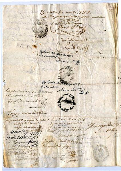 ITALIA Pasaporte dado en Nápoles por el Reino de las dos Sicilias a un ciudadano italiano Año 1822 Hoja 2 reverso