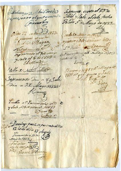 ITALIA Pasaporte dado en Nápoles por el Reino de las dos Sicilias a un ciudadano italiano Año 1822 Hoja 3 anverso