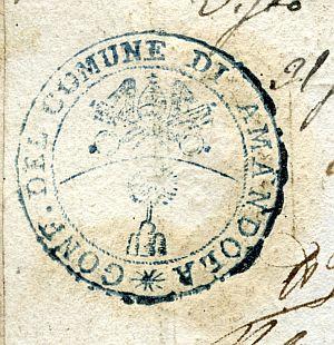 ITALIA - Sello de la Confederación del Común de Amandola - Año 1823