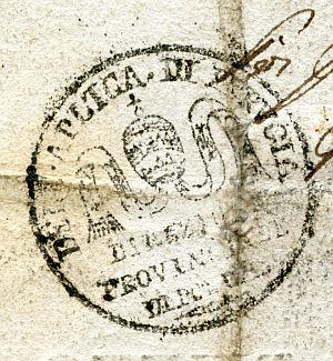 ITALIA - Sello de la Dirección Provincial de Policía de Perugia - Año 1823
