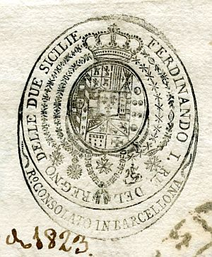 ITALIA - Sello del Consulado del Reino de las Dos Sicilias en Barcelona - Año 1823