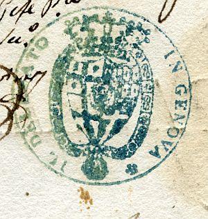 ITALIA - Sello del Delegado de la Secretaría de Estado en Génova - Año 1823