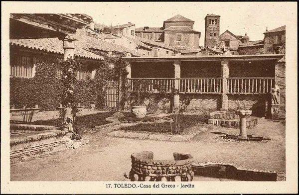 Jardín de la Casa del Greco-Postal editada por Mariano González hacia 1930_P-2680