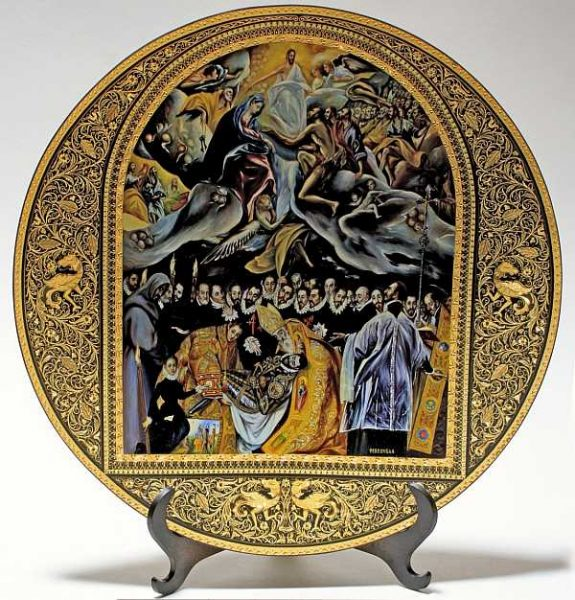 Plato de damasquino decorado con El entierro del Señor de Orgaz