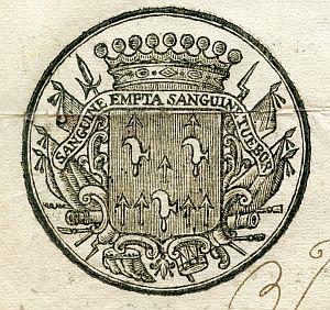 Sello de Manuel de Azlor y Urries, gobernador militar y político de Gerona - Año 1775