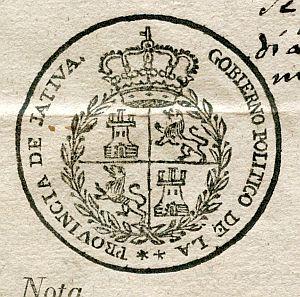 VALENCIA - Gobierno político de la provincia de Játiva - Año 1823