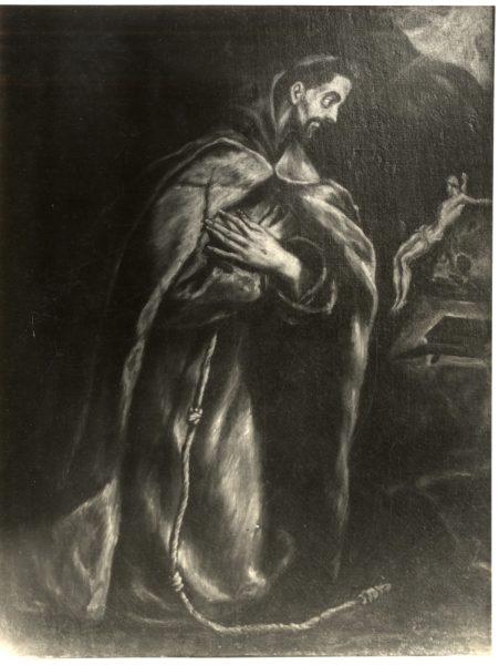 431 - [Greco - San Francisco meditando de rodillas en una cueva]