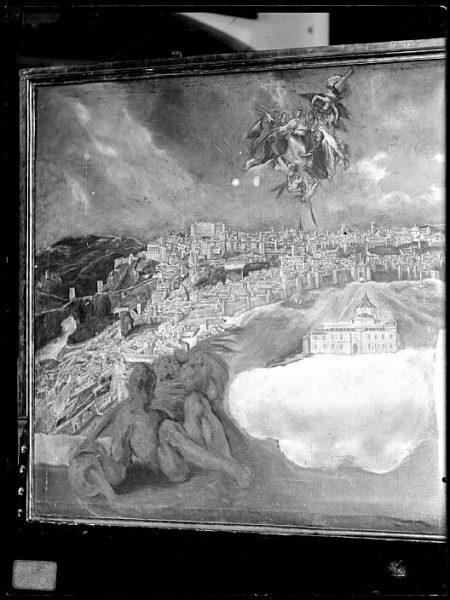 CA-0587-VI_Pintura de Domenico Theotocopuli El Greco-Detalle de la Vista y plano de Toledo