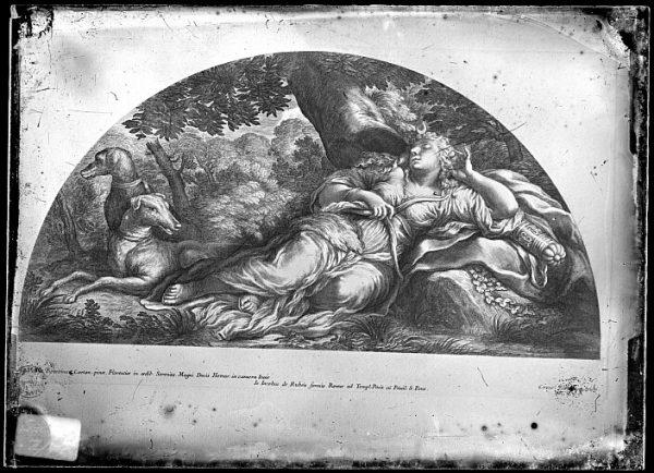 CA-0689-VI_Grabado-Escena mitológica de Diana cazadora realizada por Iacobus de Rubeis, en Roma, a finales del siglo XVII