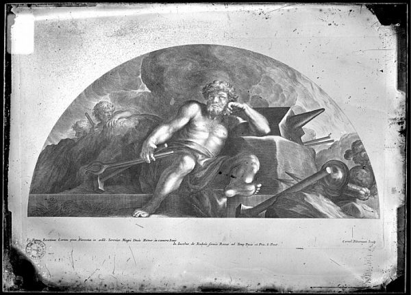 CA-0691-VI_Grabado-Escena mitológica del dios Vulcano realizada por Iacobus de Rubeis, en Roma, a finales del siglo XVII