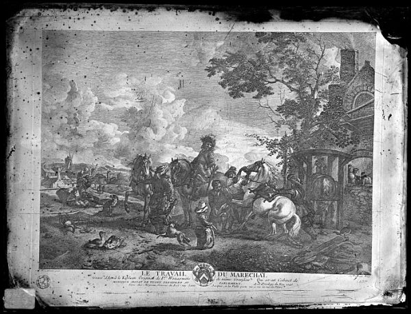 CA-0694-VI_Grabado-Escena titulada Le travail du marechal basada en un cuadro de P Wouvermens y publicada en París a mediados del siglo XVIII
