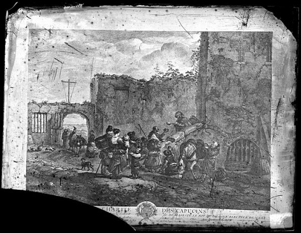 CA-0695-VI_Grabado-Escena titulada La charité des capucins basada en un cuadro de P Wouvermens y publicada en París a mediados del siglo XVIII