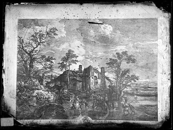 CA-0696-VI_Grabado Escena titulada L'abreuvoir flamande basada en un cuadro de P Wouvermens y publicada en París a mediados del siglo XVIII