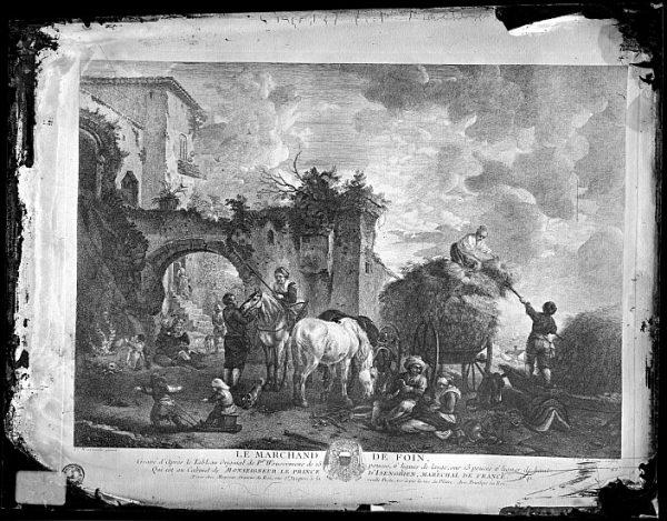 CA-0697-VI_Grabado-Escena titulada Le marchand de foin basada en un cuadro de P Wouvermens y publicada en París a mediados del siglo XVIII