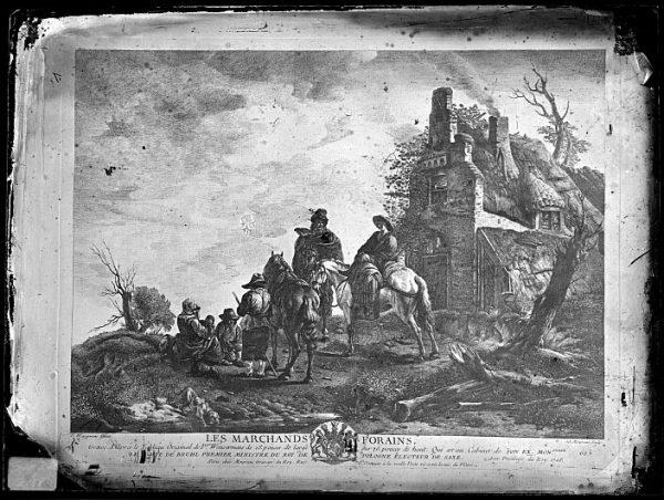 CA-0698-VI_Grabado-Escena titulada Les marchands forains basada en un cuadro de P Wouvermens y publicada en París a mediados del siglo XVIII