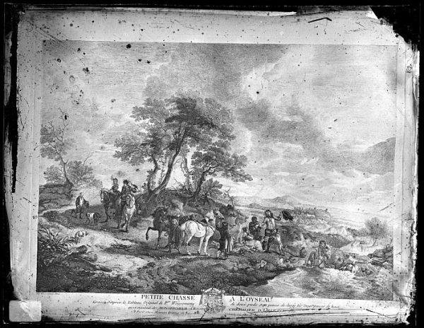 CA-0699-VI_Grabado Escena titulada Petite chasse a l'oyseau basada en un cuadro de P Wouvermens y publicada en París a mediados del siglo XVIII