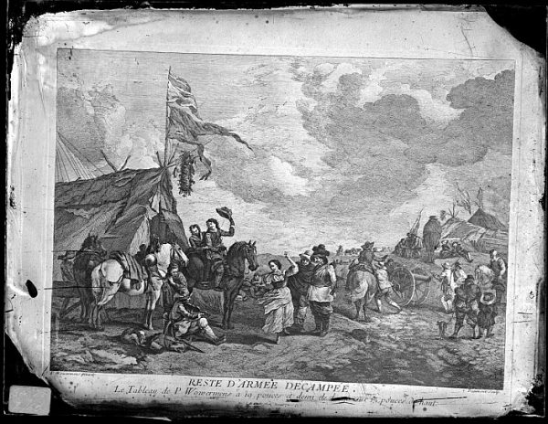 CA-0700-VI_Grabado Escena titulada Reste d'armée decampée basada en un cuadro de P Wouvermens y publicada en París a mediados del siglo XVIII