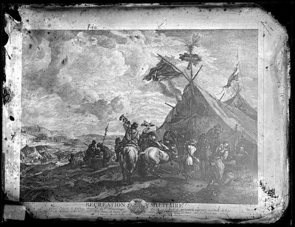 CA-0701-VI_Grabado-Escena titulada Recreation militaire basada en un cuadro de P Wouvermens y publicada en París a mediados del siglo XVIII
