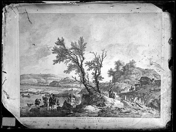 CA-0702-VI_Grabado Escena titulada Chemin dans l'eau basada en un cuadro de P Wouvermens y publicada en París a mediados del siglo XVIII