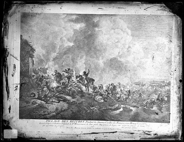 CA-0703-VI_Grabado-Escena titulada Pillage des reitres basada en un cuadro de P Wouvermens y publicada en París a mediados del siglo XVIII