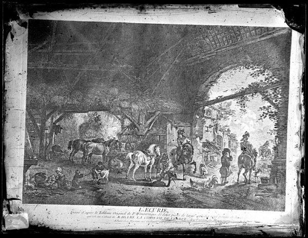 CA-0704-VI_Grabado Escena titulada L'ecurie basada en un cuadro de P Wouvermens y publicada en París a mediados del siglo XVIII