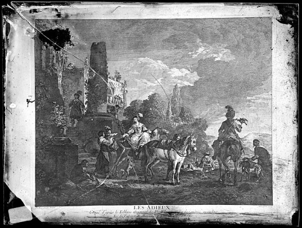 CA-0705-VI_Grabado-Escena titulada Les adieux basada en un cuadro de P Wouvermens y publicada en París a mediados del siglo XVIII