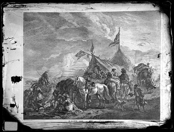 CA-0706-VI_Grabado-Escena titulada Halte de cavallerie basada en un cuadro de P Wouvermens y publicada en París a mediados del siglo XVIII