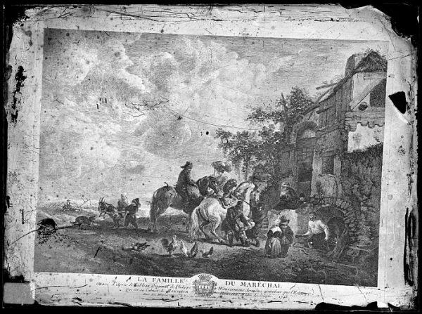 CA-0707-VI_Grabado-Escena titulada La famille du marÛchal basada en un cuadro de P Wouvermens y publicada en París a mediados del siglo XVIII