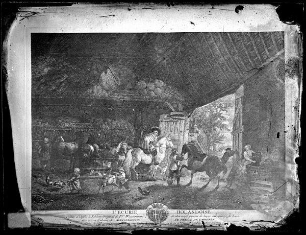 CA-0708-VI_Grabado Escena titulada L'ecurie holandoise basada en un cuadro de P Wouvermens y publicada en París a mediados del siglo XVIII