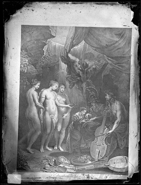 CA-0709-VI_Grabado Escena titulada L'education de la Reine basada en un cuadro de Jean Marc Nattier y publicada a principios del siglo XVIII
