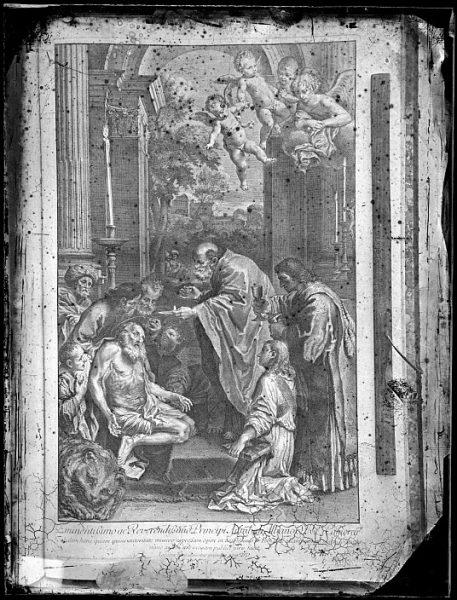 CA-0710-VI_Grabado-Escena en la que se representa la última comunión de San Jerónimo realizada por Iacobus Frey en 1729 y dedicada al príncipe Annibali Albano