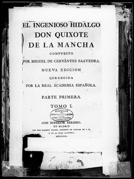 CA-0745-VI_Cubierta del tomo I del libro El Ingenioso Hidalgo Don Quixote de la Mancha (Madrid-Joaquín Ibarra, 1780) de Miguel de Cervantes Saavedra