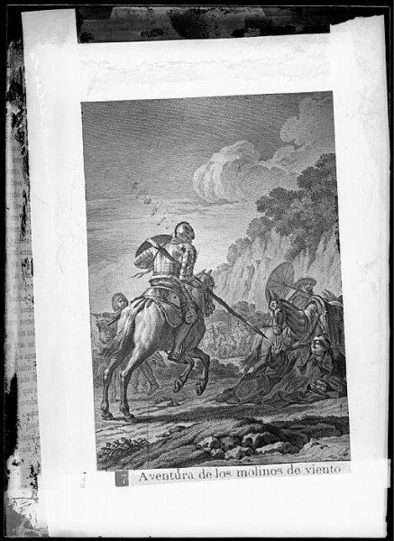 CA-0751-VI_Grabado del Quixote-Escena titulada Aventura de los molinos de viento