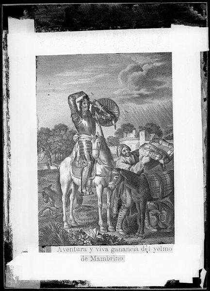 CA-0753-VI_Grabado del Quixote-Escena titulada Aventura y viva ganancia del yelmo de Mambrino