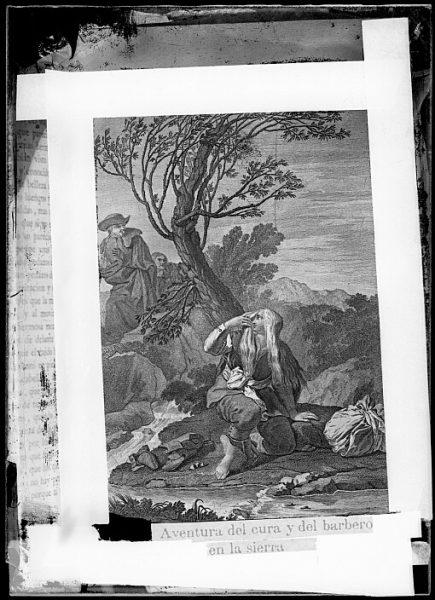 CA-0755-VI_Grabado del Quixote-Escena titulada Aventura del cura y del barbero en la sierra