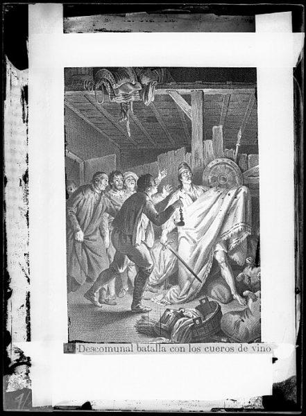 CA-0757-VI_Grabado del Quixote-Escena titulada Descomunal batalla con los cueros de vino