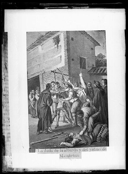 CA-0759-VI_Grabado del Quixote-Escena titulada La duda de la albarda y del yelmo de Mambrino