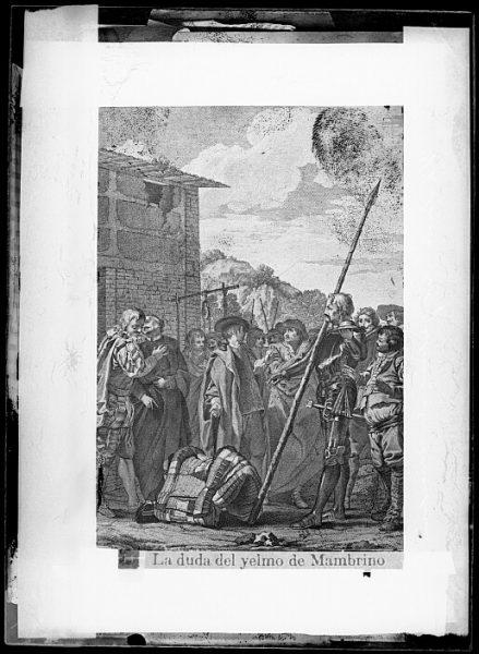 CA-0760-VI_Grabado del Quixote-Escena titulada La duda del yelmo de Mambrino